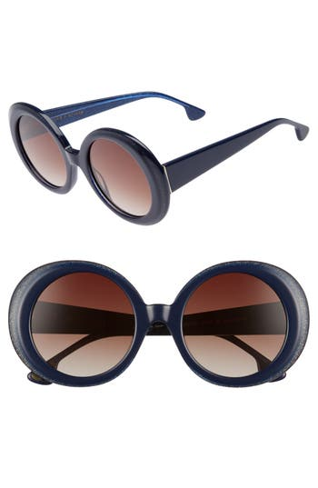 Women's Alice + Olivia Mulholland 52Mm Round Gradient Sunglasses - Navy Glitter
