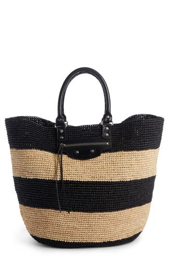 Balenciaga Large Panier Woven Tote With Calfskin Leather Trim - Beige