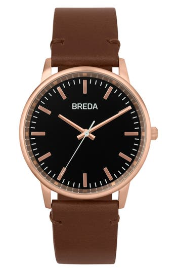 Breda Zapf Leather Strap Watch,