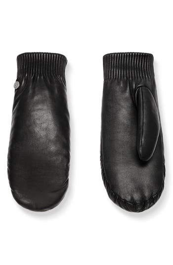 Canada Goose Rib Cuff Leather Mittens, Black