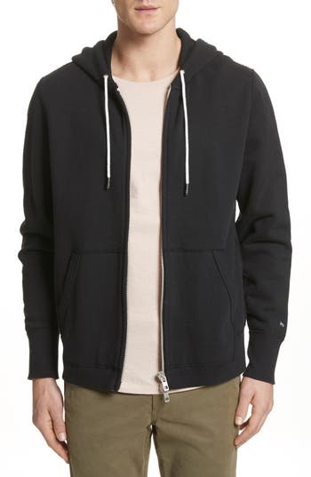 Rag & Bone Standard Issue Zip Hoodie, Black