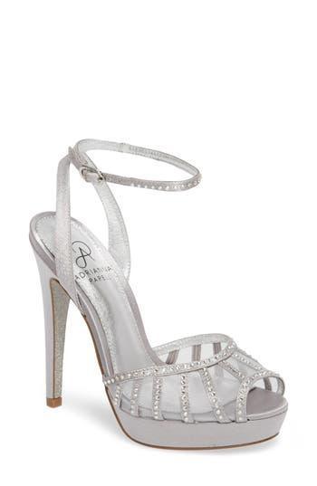 Adrianna Papell Simone Crystal Embellished Platform Sandal- Metallic