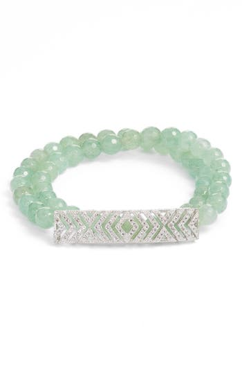 1920s Gatsby Jewelry- Flapper Earrings, Necklaces, Bracelets Womens Elise M. Gatsby Double Wrap Stretch Bracelet With Pave Art Deco Detail $53.00 AT vintagedancer.com