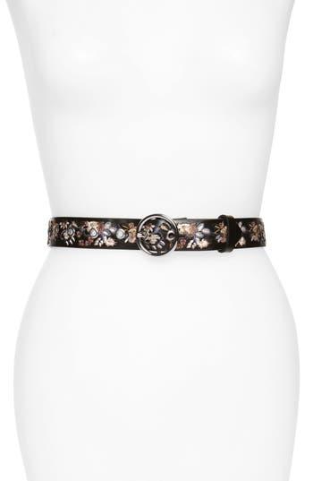 Rebecca Minkoff Embroidered Leather Belt, Black / Pol Nickel