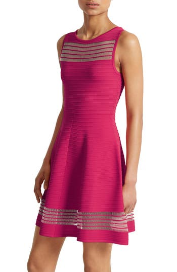 French Connection Tobey Fit & Flare Sweater Dress, Pink