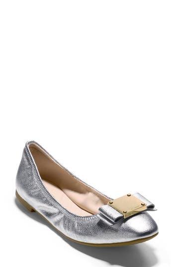 Cole Haan Tali Modern Bow Ballet Flat, Metallic