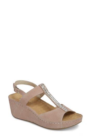 David Tate Bubbly Embellished T-Strap Wedge Sandal- Beige