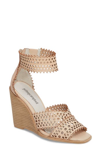 Women's Jeffrey Campbell Besante Perforated Wedge Sandal, Size 5.5 M - Beige