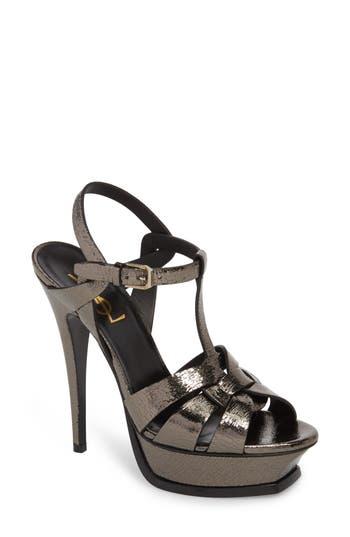 Women's Saint Laurent Tribute Metallic Platform Sandal, Size 10US / 40EU - Metallic