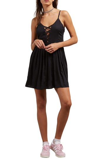 Volcom Cross Paths Sundress, Black