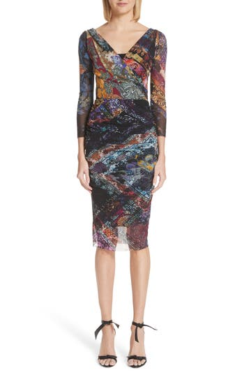 Fuzzi Golden Patchwork Tulle Surplice Body-Con Dress, Black