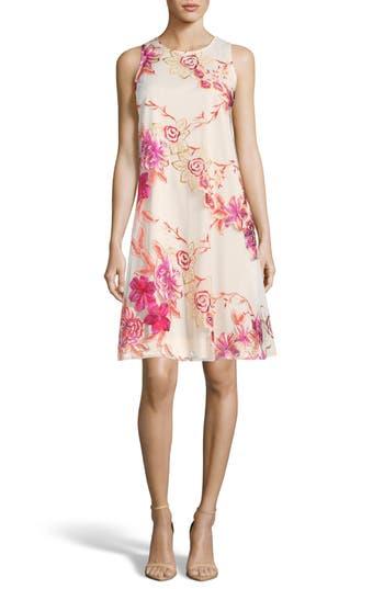 Eci Embroidered Shift Dress, Ivory