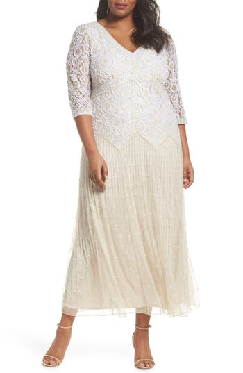 Vintage Inspired Wedding Dress | Vintage Style Wedding Dresses Plus Size Womens Pisarro Nights Beaded V-Neck Lace Illusion Gown Size 24W - Beige $238.00 AT vintagedancer.com