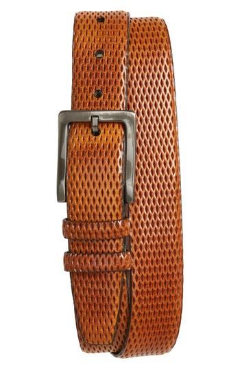Torino Belts Embossed Leather Belt, Honey