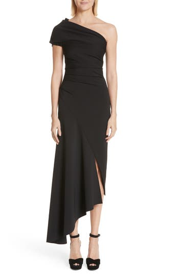 Oscar De La Renta Asymmetrical One-Shoulder Dress, Black