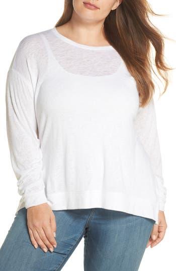 Plus Size Caslon Tuck Sleeve Sweatshirt, White