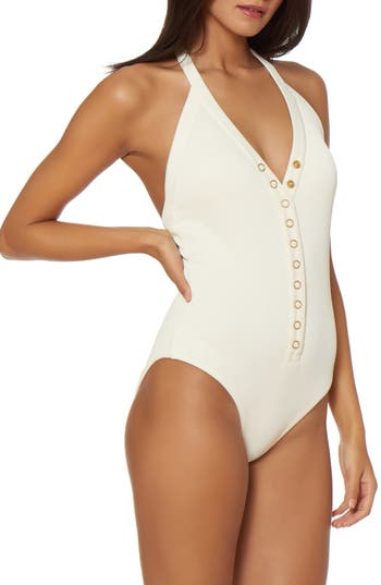 Dolce Vita Snap Front One-Piece Swimsuit, White