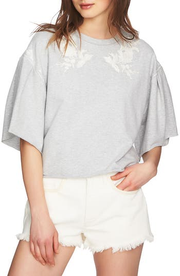 1.state Embroidered Crop French Terry Sweatshirt, Grey