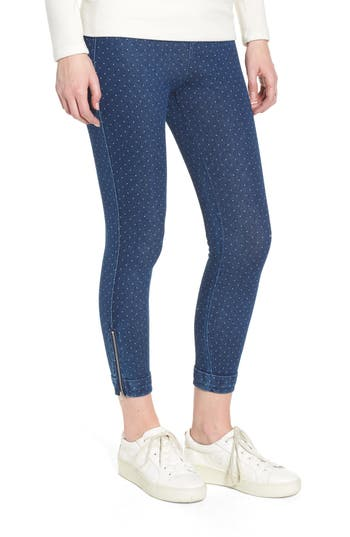 Lysse Cuff Crop Denim Leggings, Blue