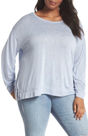 Plus Size Caslon Tuck Sleeve Sweatshirt, Blue