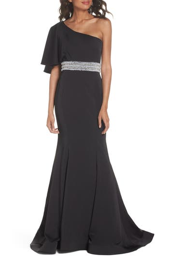MAC Duggal One-Shoulder Gown, Black