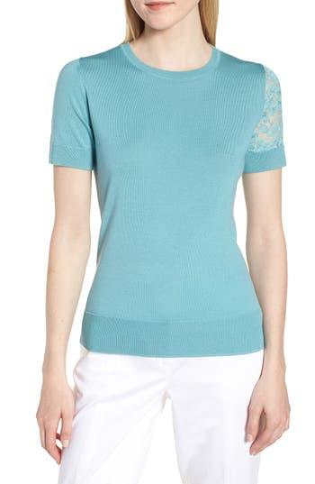 Lewit Single Lace Sleeve Wool Silk Sweater, Blue/green
