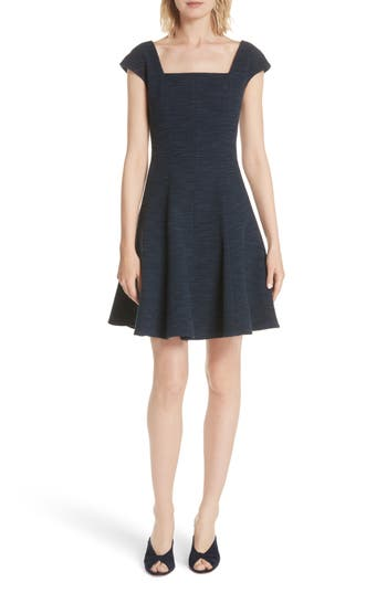 Rebecca Taylor Tweed Fit & Flare Dress, Blue