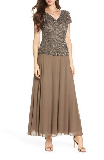 Pisarro Nights Beaded V-Neck Mock Two-Piece Gown, Brown