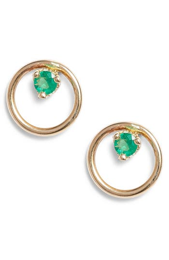 Zoe Chicco Single Emerald Open Circle Stud Earrings