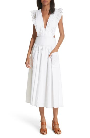 La Vie Rebecca Taylor Cotton Poplin Dress, White
