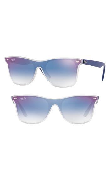 Ray-Ban Blaze 52Mm Wayfarer Shield Sunglasses - Purple/ Blue Gradient Mirror