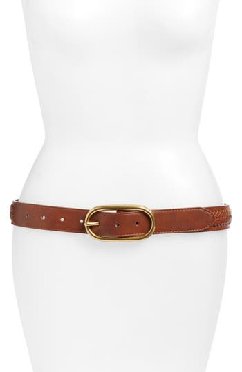 Treasure & Bond Oval Buckle Whipstitched Leather Belt, Brown Saddle