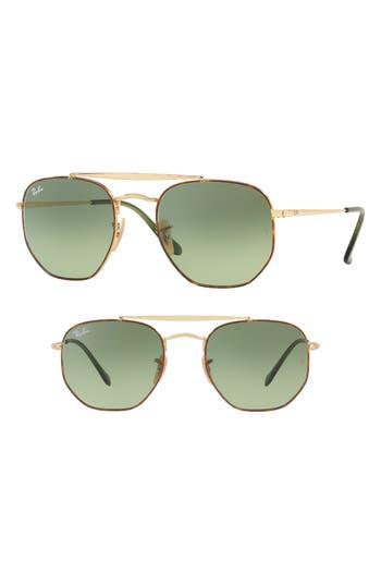 Ray-Ban Marshall 51Mm Aviator Sunglasses - Light Green Gradient