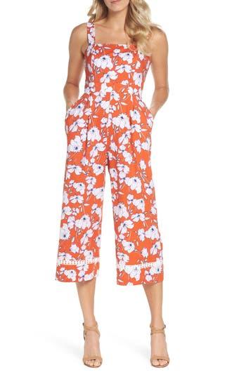 Vintage High Waisted Trousers, Sailor Pants, Jeans Womens Eliza J Wide Strap Crop Leg Jumpsuit Size 16 - Red $128.00 AT vintagedancer.com