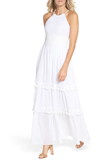 Eliza J Halter Neck Cotton Maxi Dress