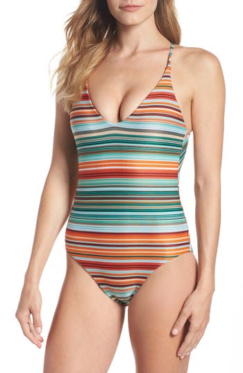Bca Sunshine Stripe One-Piece Swimsuit, Orange