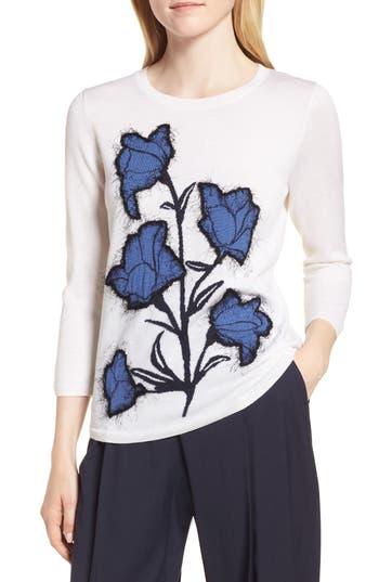 Lewit Eyelash Graphic Wool & Silk Sweater, White