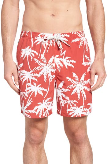Quiksilver Waterman Collection Palma Volley Swim Trunks, Red
