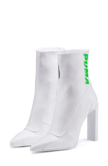Fenty Puma By Rihanna Logo Pointy Toe Boot, White