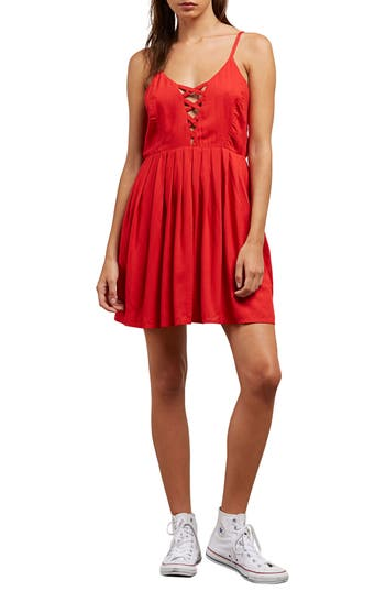 Volcom Cross Paths Sundress, Red
