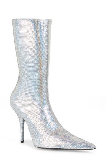 Balenciaga Pointy Toe Mid Boot, Metallic