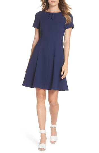 Eliza J Button Yoke Fit & Flare Dress, 8 (similar to 1) - Blue