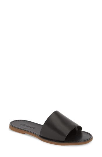 f79117127a5 Madewell Boardwalk Post Slide Sandal In True Black Leather ...