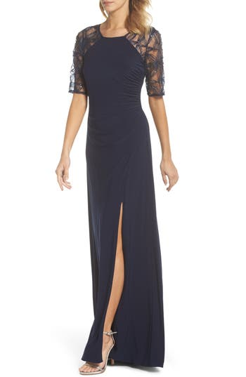 Adrianna Papell Jersey Gown With Lace Sleeves