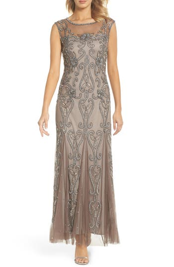 1920s Style Dresses, Flapper Dresses Pisarro Nights Illusion Neck Sequin Gown $218.00 AT vintagedancer.com