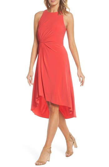 Adrianna Papell Asymmetrical Matte Jersey Dress(Regular & Petite)