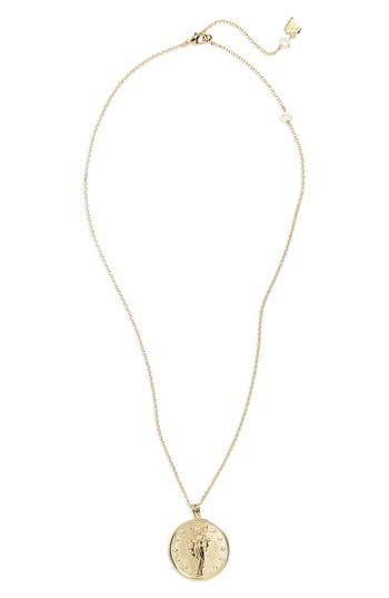 WANDERLUST + CO Selene Goddess Necklace in Gold