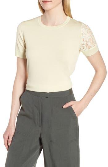 Lewit Single Lace Sleeve Wool Silk Sweater, Yellow