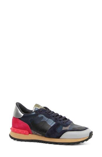 Camouflage Low Top Sneaker, Black/ Marine/ Pink