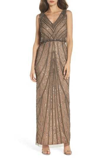 1930s Evening Dresses | Old Hollywood Dress Adrianna Papell V-Neck Deco Beaded Gown $329.00 AT vintagedancer.com